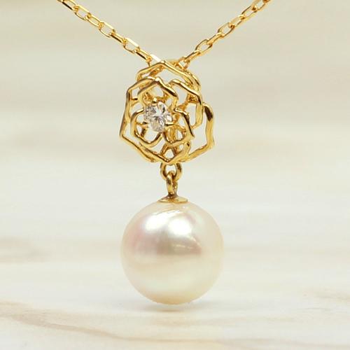 あこや真珠 本真珠 10K ネックレス・セリリナ ペンダント レディース ピンクゴールド ホワイトゴールド 本物 バラ 薔薇カラーストーン モチーフ かわいい パーティー 結婚式 シンプル 上品 アコヤパール おしゃれ 10金 デザインネックレス ブランド カラフル 宝石
