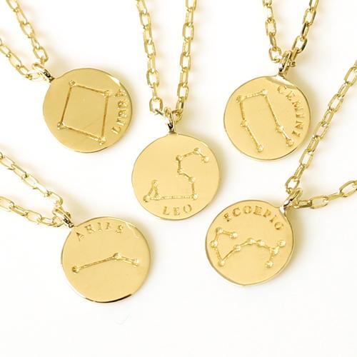 十二星座モチーフ K10 ゴールド ネックレス ペンダント・コンスタッティ お守り レディース コイン型 誕生日プレゼント ジュエリー ブランド
