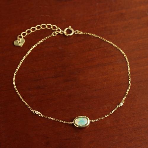 オパール ダイヤモンド オーストラリア産 ブレスレット レディース・レーチェ 10K K10 10金 ピンクゴールド ホワイトゴールド 誕生日プレゼント 女性 ジュエリー ブランド 宝石