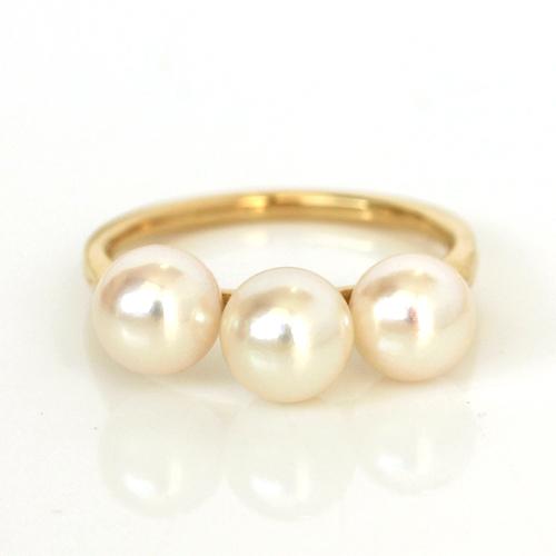 【10%OFFクーポン対象】あこや真珠 真珠 本真珠 パール リング 指輪・ニンファル K10 10K 10金 大粒 三連 スタイリッシュ エレガント 綺麗 大人 上品 誕生日プレゼント 6月誕生石リング 結婚式 アクセサリー 可愛い ゆび