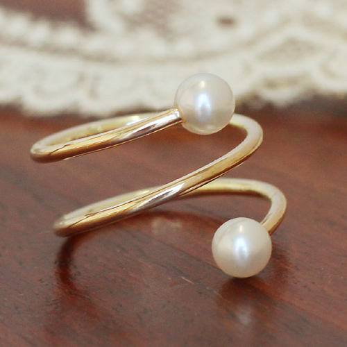 あこや真珠 フォークリング 指輪・トゥクイーユ K10 ピンクゴールド ホワイトゴールド イエローゴールド ファランジリング ピンキーリング あこやパール アコヤ 本真珠 6月誕生石リング 流行 おしゃれ 人気 華奢 シンプル 結婚 ブランド 宝石