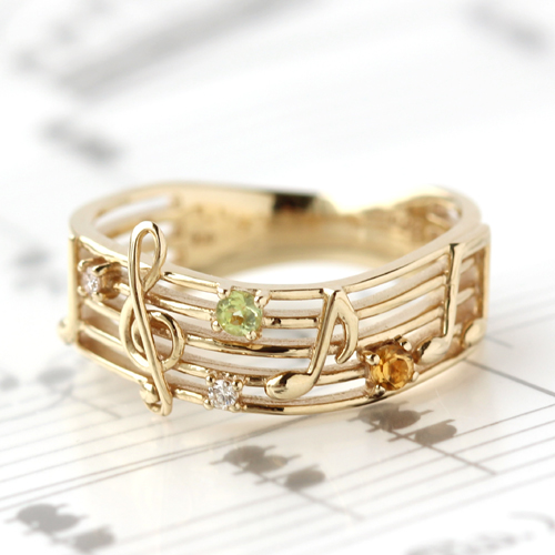 Kinmokusei Musical Notes Motif Ring Ring Ladies Diamond 10 K Gold