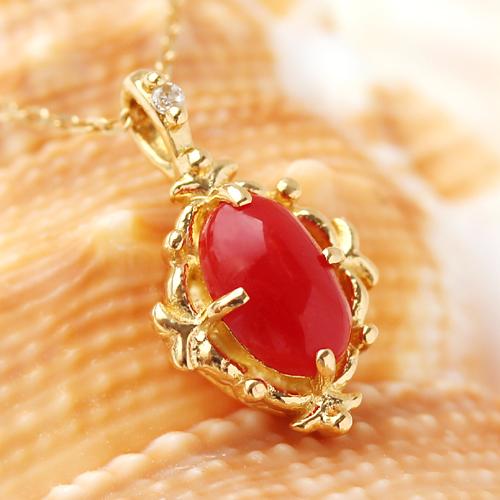 血赤珊瑚 18K ネックレス ペンダント レディース・クリケティ ピンクゴールド ホワイトゴールド 3月の誕生石 赤さんご 赤サンゴ コーラル 大粒 人気 おしゃれ 18金 K18 可愛い クラシカル 赤 還暦 おすすめ ジュ ブランド 宝石