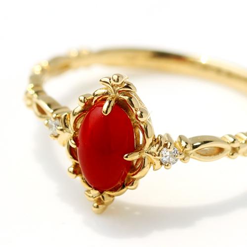血赤珊瑚 ダイヤモンド 18K リング 指輪 レディース・デニー ピンクゴールド ホワイトゴールド 3月の誕生石リング 赤さんご 赤サンゴ コーラル クラシカル 人気 おしゃれ 18金 K18 デザイン 華奢 シンプル ファッションリング ブランド 宝石