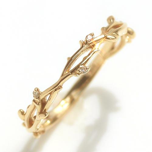 リング 指輪 ダイヤモンド 10K レディース・リューシュ K10 10金 ピンクゴールド ホワイトゴールド 茨 葉っぱ 棘 トゲ 蔦 エレガント ゴージャス 大人 華奢 シンプル デザイン ファッションリング 可愛い ボタニカル ダイアモンド 植物 モチーフ デザイン ブランド 宝石