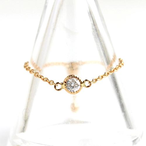 ダイヤモンド チェーンリング 指輪 レディース・ファヴォリ エレガント キラキラ 上品 かわいい イエローゴールド K18 18K 18金 誕生日プレゼント 女性 華奢 シンプル フリーサイズ 可愛い ゆびわ ジュエリー クリ ブランド 宝石 おしゃれ