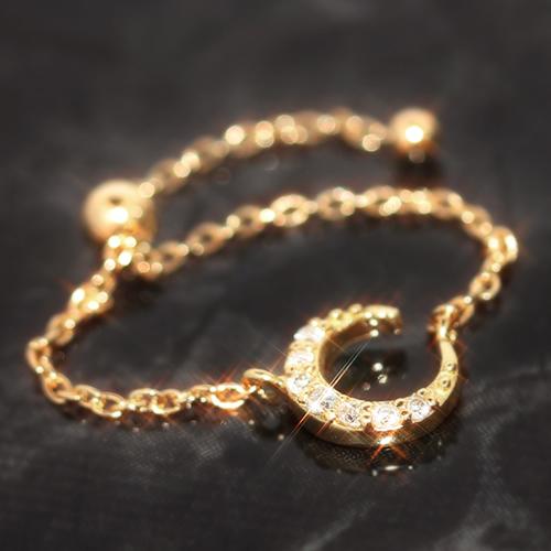 チェーンリング リング 18K 指輪 ダイヤモンド ダイアモンド ゴールド K18 18金・ルナリエ 三日月 キラキラ ゴージャス 誕生日プレゼント 華奢 シンプル 可愛い ゆびわ ジュエリー ブランド 宝石 おしゃれ