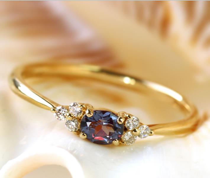 18K ベキリーブルーガーネット ダイヤモンド イエローゴールド ピンクゴールド ホワイトゴールドリング 指輪・フラヴィ 1月誕生石 レディース BIZOUX ビズー ブランド おしゃれ