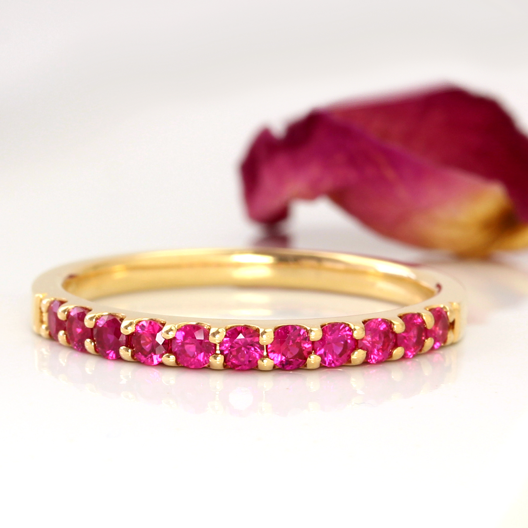 Myanmar produced Ruby, x x x Bizoux x K18 color gold eternity ring, Emma