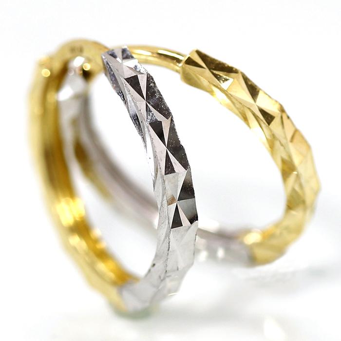 フープピアス カラーストーン  レディース 18K 18金 軸太 ダイヤモンド 通販 人気 おすすめ
