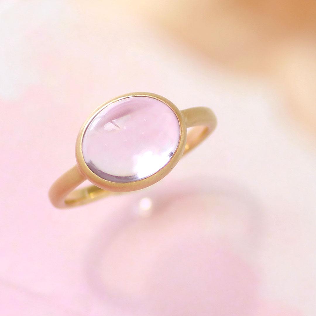 ピンクアメジスト リング 10K イエローゴールド レディース 指輪・ハウ 大粒 ボリュームリング K10 10金 ファッションリング 2月の誕生石リング ジュエリー ブランド 一粒リング 宝石 おしゃれ
