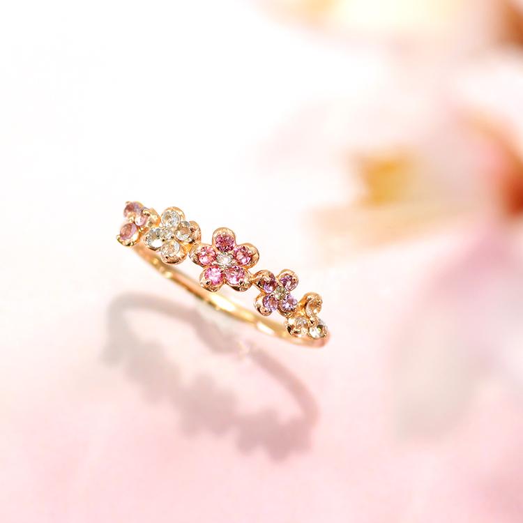 桜色ジュエル ピンクゴールドリング・サクラフルーリ リング 指輪 10K フラワー誕生日プレゼント 桜 さくら リング フラワーモチーフ 女性 華奢 ファッションリング カラフル かわいい