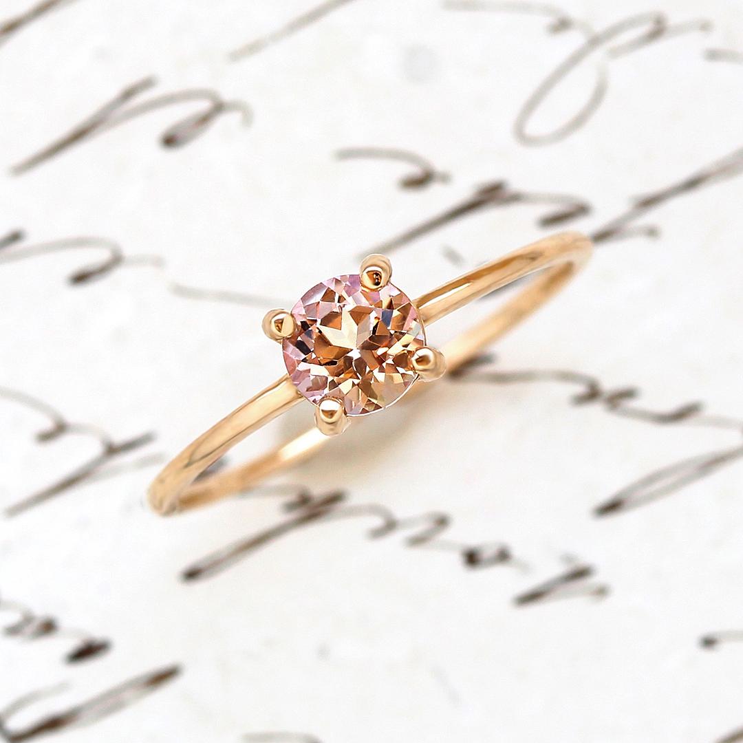ミスティローズトパーズ リング 指輪 ゴールド ロゼシャルム K10 レディース バイカラー 11月の誕生石ネックレス 華奢 シンプル 高品質 ファッションリング 重ねづけ 重ね着け ジュエリー ブランド 宝石