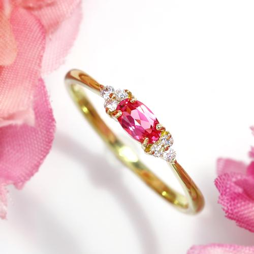 18K ネオンピンクスピネル アヤナスピネル ホットピンクスピネル イエローゴールド ピンクゴールド ホワイトゴールド リング・フラヴィ レディース 18金 K18 送料無料 おしゃれ 華奢 シンプル 人気 BIZOUX ビズー 指輪 ブランド