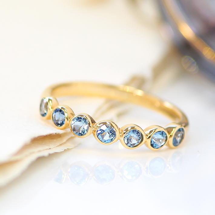 18K リング 指輪 サンタマリアアクアマリン ゴールド・ポルカ 指輪 3月誕生石 華奢 シンプル デザイン 誕生日プレゼント 女性 レディース K18 18金 ブランド BIZOUX ビズー 送料無料 おしゃれ