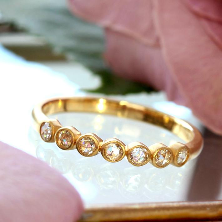 18K ローズカットダイヤモンド リング 指輪・ポルカ VS-SIクラスダイヤモンド イエローゴールド ピンクゴールド ホワイトゴールド 誕生日プレゼント 女性 レディース K18 18金 ファッションリング ブランド BIZOUX ビズー 送料無料 宝石