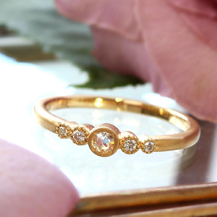18K ローズカットダイヤモンド リング 指輪・フランシーネ VS-SIクラスダイヤモンド イエローゴールド ピンクゴールド ホワイトゴールド 誕生日プレゼント 女性 レディース K18 18金 ファッションリング ブランド BIZOUX ビズー 送料無料 宝石