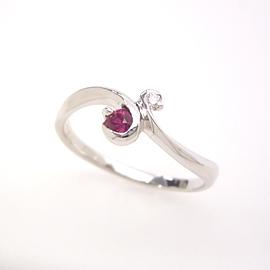 ルビー 7月誕生石リング ダイヤモンド K18 ホワイトゴールド リング レディース 指輪・ルペウス 18金 18K ギフト プレゼント 華奢 シンプル ファッションリング 可愛い ゆびわ ジュエリー ブランド 宝石 おしゃれ