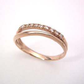 【10%OFFクーポン対象】0.1ctダイヤモンド K10 ピンクゴールド リング レディース 指輪・ルーブシェンヌ エタニティリング レディース 重ねづけ 華奢 シンプル ピンキーリング対応 サイズ3号から 10K 10金 ファランジリン