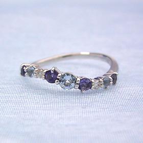ブルーグラデーション ダイヤモンドリング レディース 指輪・カパルア 華奢 シンプル ファッションリング 可愛い ゆびわ ジュエリー ブランド 宝石 おしゃれ