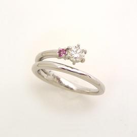 ダイヤモンド ピンクサファイア K18 ホワイトゴールド リング レディース 指輪・アフロディテ サファイア サファイヤ ピンキーリング対応 ファランジリング ミディリング 関節リング 華奢 シンプル ファッションリング 可愛 ブランド 宝石 おしゃれ