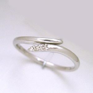 ダイヤモンド K18 ホワイトゴールド リング レディース 指輪・セレーネ ピンキーリング対応 小指 サイズ2号から 18K 18金 重ねづけ シンプル ファランジリング ミディリング 関節リング 華奢 シンプル ファッション ブランド 宝石 おしゃれ