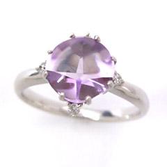 【スーパーセール10%OFF】アメジスト ダイヤモンドリング レディース 指輪・エターナアモール 華奢 シンプル ファッションリング 可愛い ゆびわ ジュエリー ブランド 宝石 おしゃれ