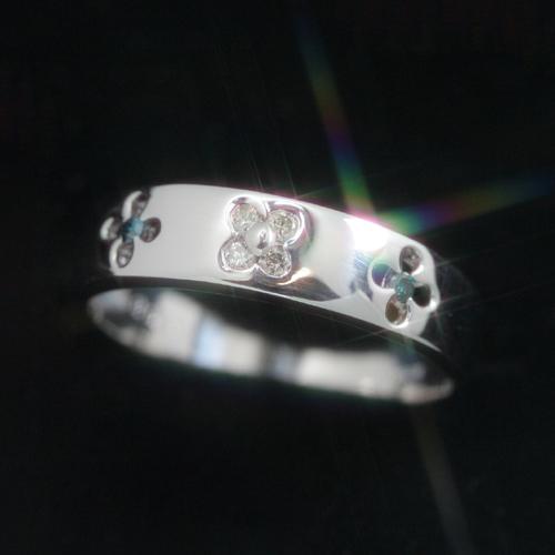 【300個完売】ブルーダイヤモンド ダイヤモンド プラチナ900リング レディース 指輪・フロルアンフィ ロマンチックな花びらの型抜きリング レディース (Pt900) ピンキーリング対応 ファランジリング ミディリング ボタニカル柄 ブランド 宝石 おしゃれ