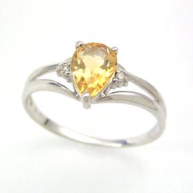 シトリン ダイヤモンドリング レディース 指輪・アルレール 華奢 シンプル ファッションリング 可愛い ゆびわ ジュエリー ブランド 宝石 おしゃれ