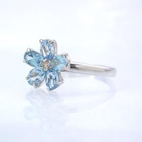 ブルートパーズ ダイヤモンドリング レディース 指輪・パスティーシュ 華奢 シンプル ファッションリング 可愛い ゆびわ ジュエリー ブランド 宝石 おしゃれ