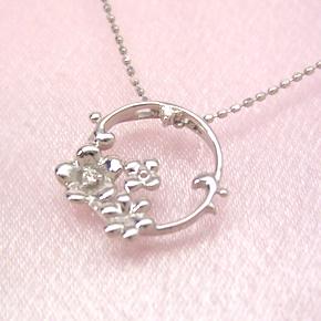 ダイヤモンド ホワイトゴールドネックレス レディース ペンダント・コルベイユ 華奢 シンプル ジュエリー ブランド 宝石