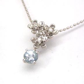 アクアマリン ダイヤモンドネックレス レディース ペンダント・ラファエラマリア 華奢 シンプル ジュエリー ブランド 宝石