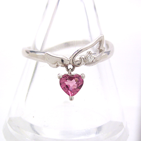 ピンクトルマリン ダイヤモンドリング レディース 指輪・シュクレデュール 大人気のハートと天使の羽モチーフ!(10K/10金) ファッションリング 可愛い ゆびわ ジュエリー ブランド 宝石 おしゃれ