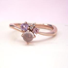 ピンクグラデーション ダイヤモンドリング レディース 指輪・ソフィーチェ 誕生日プレゼント 華奢 シンプル ファッションリング 可愛い ゆびわ ジュエリー ブランド 宝石 おしゃれ