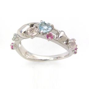 【スーパーセール10%OFF】ピンクグラデーション ホワイトゴールド リング レディース 指輪・コンヴィエール 誕生日プレゼント 華奢 シンプル ファッションリング 可愛い ゆびわ ジュエリー ブランド 宝石 おしゃれ