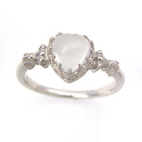 ムーンストーン K10ホワイトゴールド リング レディース 指輪・セルジェンヌ 華奢 シンプル ファッションリング 可愛い ゆびわ ジュエリー ブランド 宝石 おしゃれ
