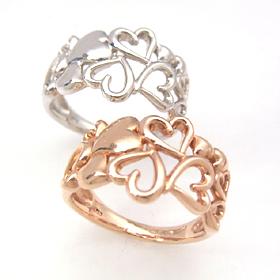 ゴールド リング レディース 指輪・リノクオーレ (ピンクゴールド/ホワイトゴールド) 華奢 シンプル ファッションリング 可愛い ゆびわ ジュエリー ブランド 宝石 おしゃれ
