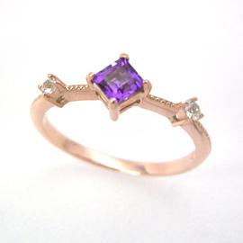 アメジスト ホワイトサファイア ピンクゴールド リング レディース 指輪・エスティン (サファイア サファイヤ) ピンキーリング対応 ファランジリング ミディリング 関節リング 華奢 シンプル ファッションリング 可愛い ブランド 宝石 おしゃれ