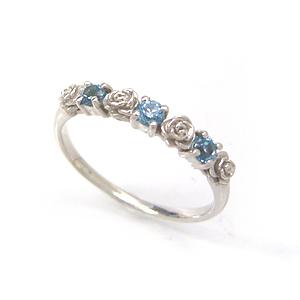 ブルートパーズ ホワイトゴールド リング レディース 指輪・アリヴェルト 10K K10 10金 華奢 シンプル ファッションリング 可愛い ゆびわ ジュエリー バラ 薔薇の花モチーフ デザイン おしゃれ かわいい 人気 おすすめ ブランド 宝石
