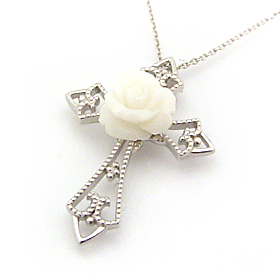 モノトーンジュエル ホワイトゴールドネックレス レディース ペンダント・ブランノワール 華奢 シンプル ジュエリー ブランド 宝石