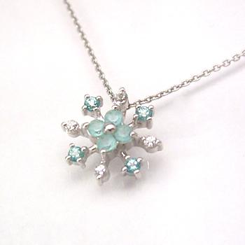 清楚に輝く 雪の花・・グリーントパーズ ホワイトトパーズネックレス レディース ペンダント・フロルネージュ 華奢 シンプル ジュエリー ボタニカル柄 ブランド 宝石