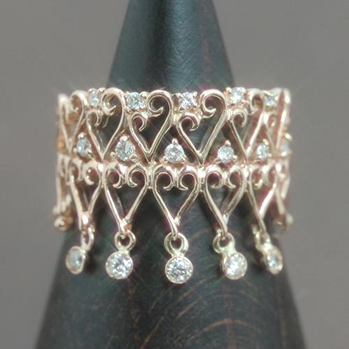 ダイヤモンド ピンクゴールド リング レディース 指輪・イグレクオーレ ピンキーリング対応 ファランジリング ミディリング 関節リング 華奢 シンプル ファッションリング 可愛い ゆびわ ジュエリー ブランド 宝石 おしゃれ