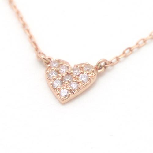 0.1ctダイヤモンド 10K ピンクゴールドネックレス・リコルディア レディース 合計10ピース0.1カラットダイヤモンドをハートに敷き詰めたパヴェネックレス! ハートカラーストーン モチーフ かわいい 人気 おしゃれ 10金 K10 シンプル 華奢 ブランド 宝石