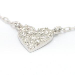 0.1ctダイヤモンド 10K ホワイトゴールドネックレス・リコルディア レディース 合計10ピース0.1カラットダイヤモンドをハートに敷き詰めたパヴェネックレス! ハートモチーフ かわいい 人気 おしゃれ 10金 K10 シンプル 華奢 おすすめ ギフ ブランド 宝石