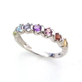セブンストーン ホワイトゴールド・アミュレットリング レディース 指輪 誕生日プレゼント 華奢 シンプル ファッションリング 可愛い ゆびわ ジュエリー ブランド 宝石 おしゃれ