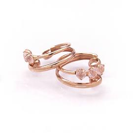 ローズクオーツ ピンクゴールドイヤリング レディース・ミルフィーユ ピアスみたい 華奢 シンプル 小粒 ジュエリー ブランド 宝石
