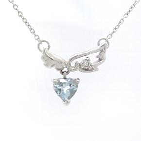 アクアマリン ダイヤモンドネックレス レディース ペンダント・モアナラーニ 華奢 シンプル ジュエリー ブランド 宝石