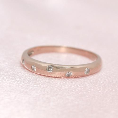 0.1ctダイヤモンド K10 ピンクゴールド リング レディース 指輪・ルロンド ピンキーリング対応 サイズ1号から 重ねづけ シンプル ギフト 10K 10金 ファランジリング ミディリング 関節リング 華奢 シンプル フ ブランド 宝石 おしゃれ