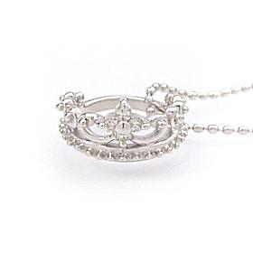 ダイヤモンド ホワイトゴールドネックレス レディース ペンダント・プランセロワ 華奢 シンプル ジュエリー ブランド 宝石