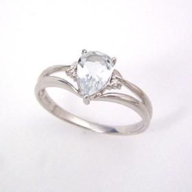 アクアマリン ダイヤモンド K18 ホワイトゴールド リング レディース 指輪・エルーセラ 3月誕生石リング 18K 18金 華奢 シンプル ファッションリング 可愛い ゆびわ ジュエリー ブランド 宝石 おしゃれ